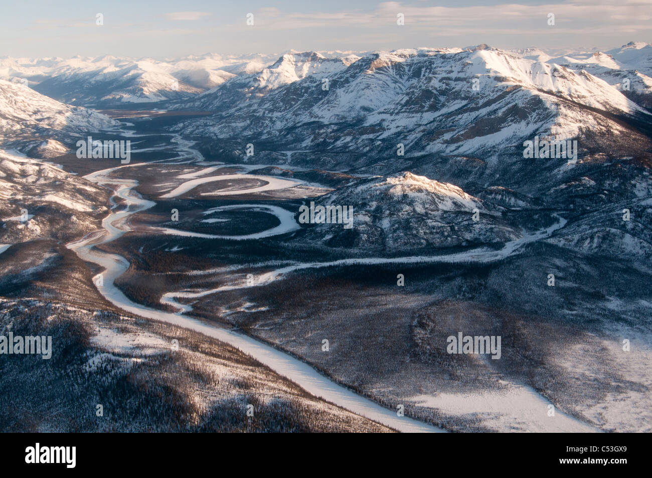 Morning aerial view of the Alatna River in Gates of the Arctic National Park & Preserve, Arctic Alaska, Winter - Stock Image