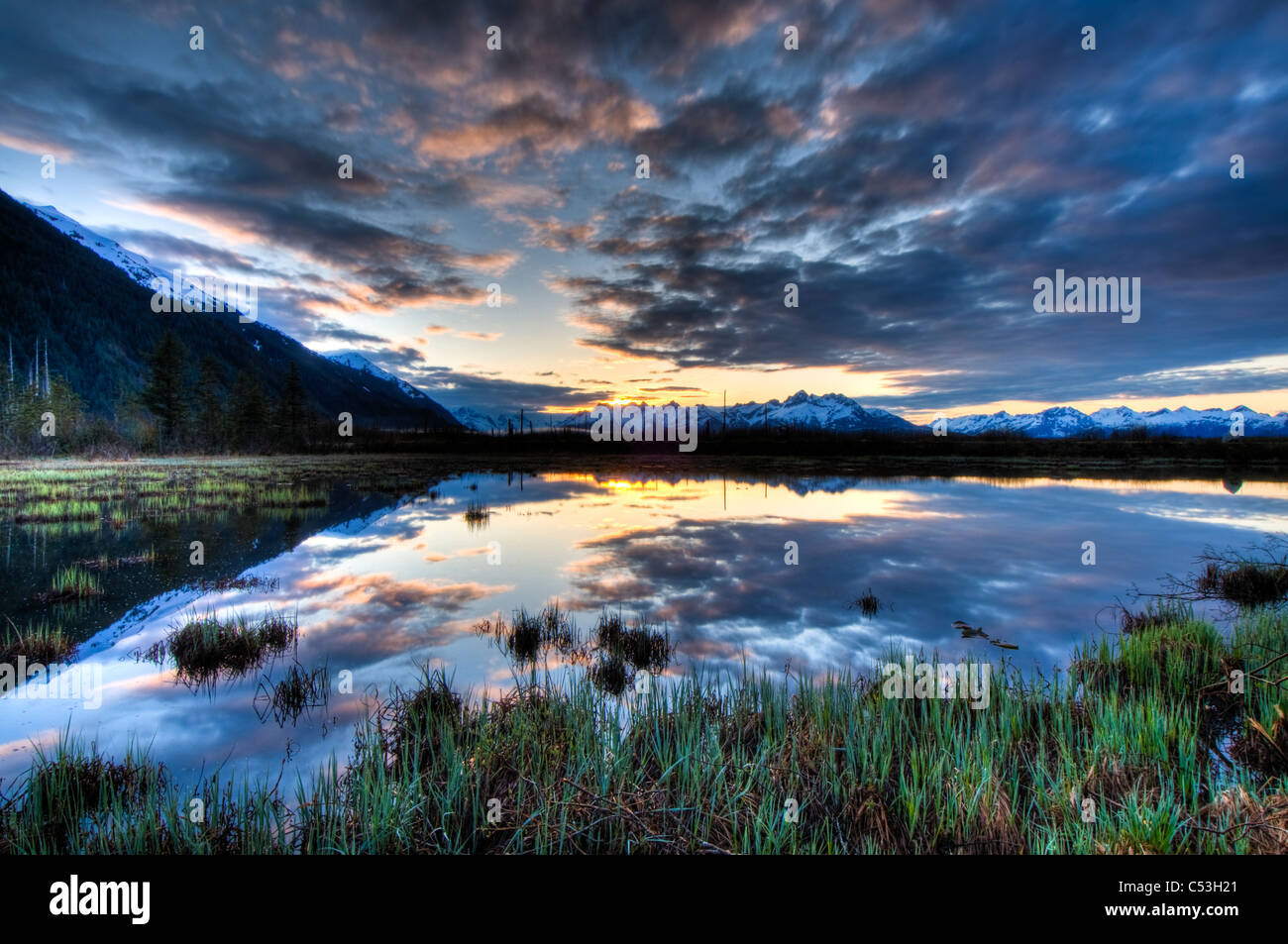 Morning sky reflecting on a pond near the Copper River Highway outside of Cordova, Southcentral Alaska, Spring. - Stock Image