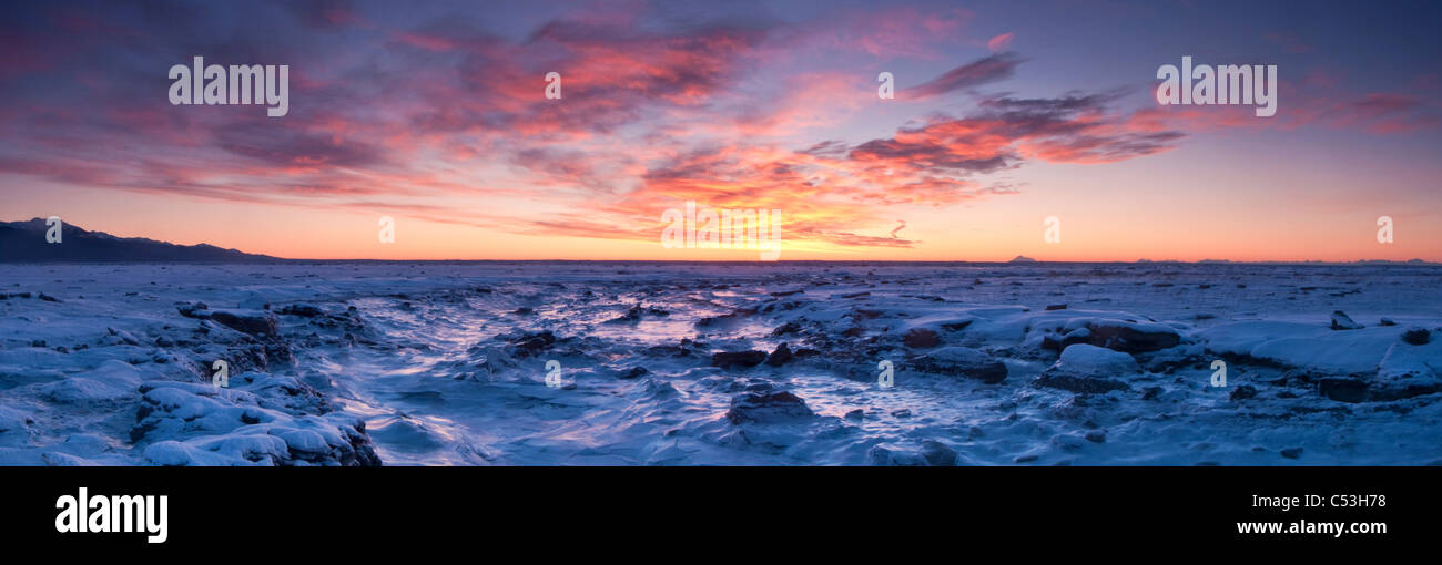 Panoramic scenic at sunset of the Anchorage Coastal Wildlife Refuge with Kenai Mountains in the background, Alaska, - Stock Image