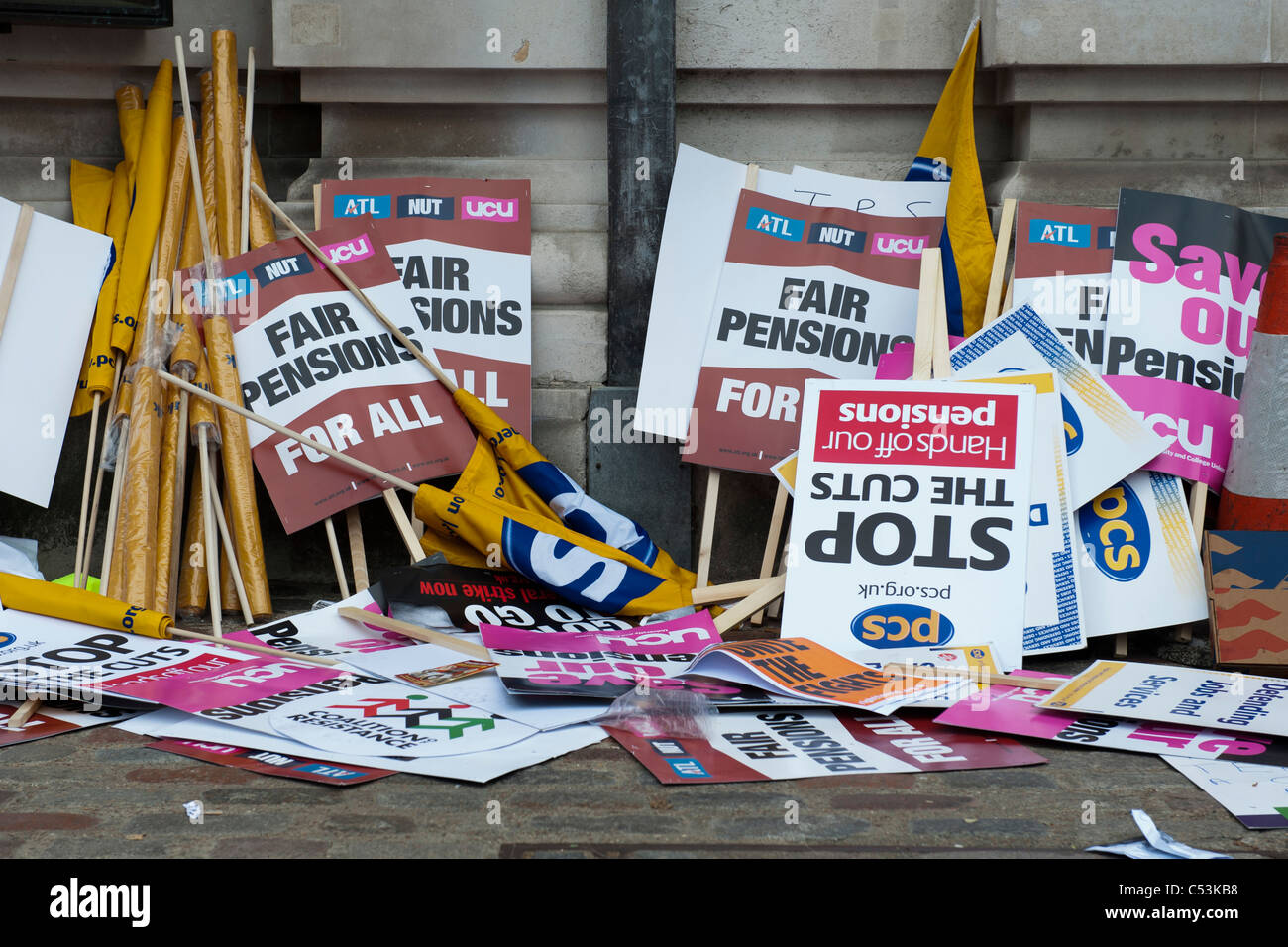 A march organised by the PCS union is joined by many others. It marks a day of public sector strikes over pension - Stock Image
