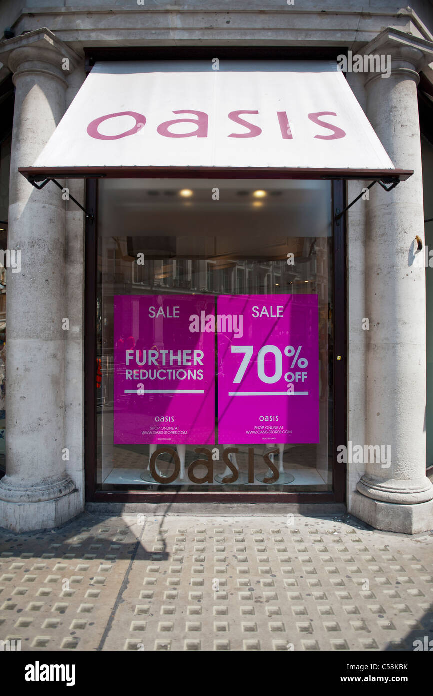 Oasis feels the pinch and offers sale discounts of up to 70% off in the hope of boosting trade in the store. Stock Photo