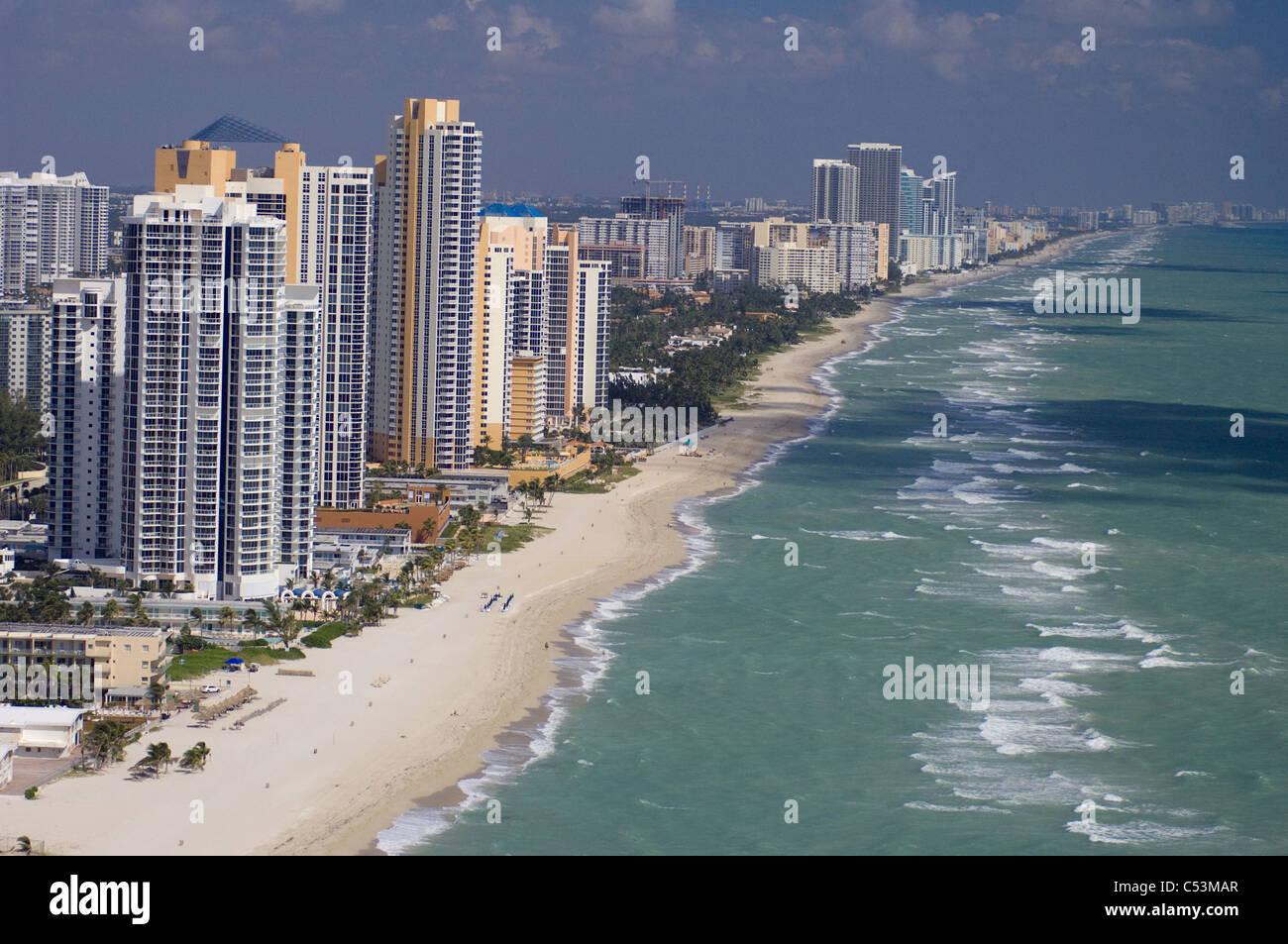 Hallandale North Miami area development on beach coastal development - Stock Image