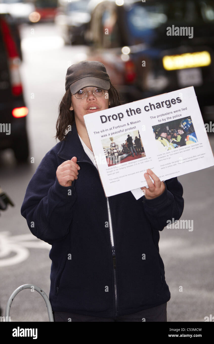 A protest outside Westminster Magistrates Court as activists charged over the occupation of Fortnum & Masons - Stock Image