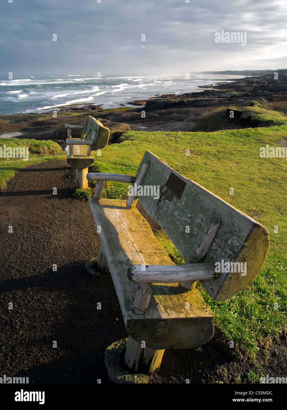 Benches at Smelt Sands State Park, Oregon - Stock Image