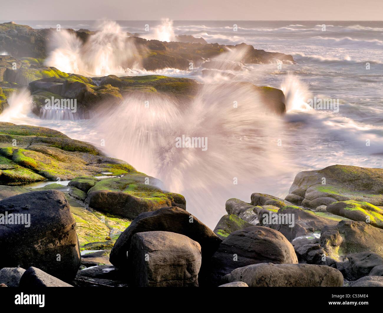 Storm waves crashing on shore. Smelt Sands State Park, Oregon - Stock Image