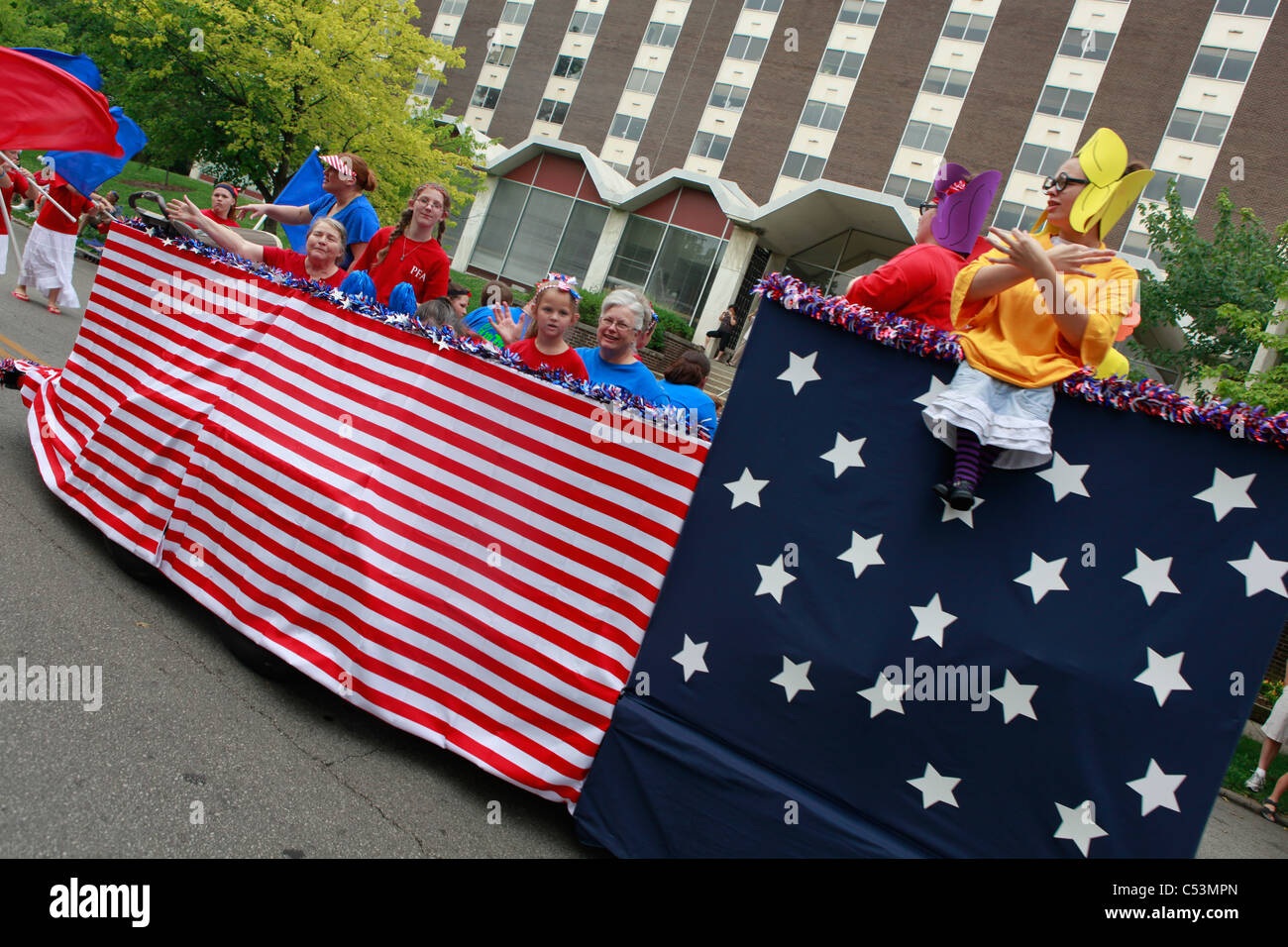 patriotic float with children american flag 4th of July Parade Stock on