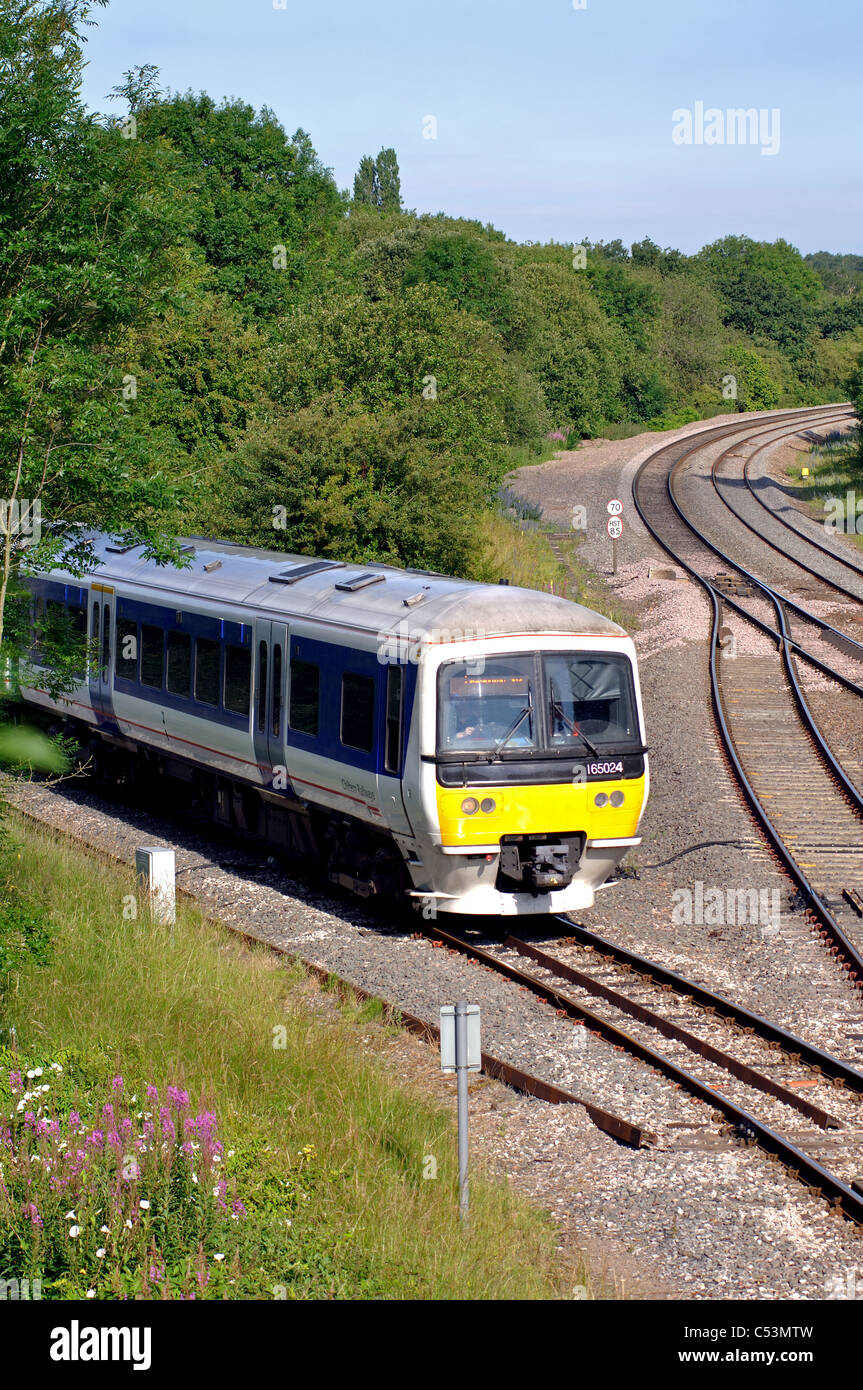 Chiltern Railways train leaving Stratford branch line at Hatton South Junction, Warwickshire, England, UK - Stock Image