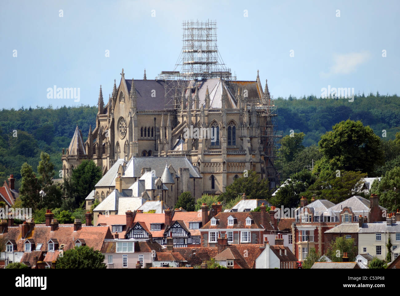 Arundel Cathedral overlooking the historic properties of the town centre West Sussex UK - Stock Image