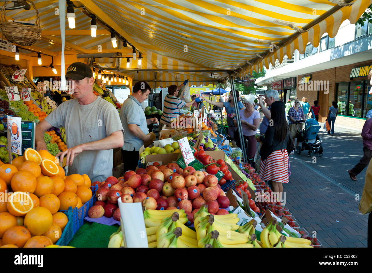 Street market stall fruit traders, - Stock Image