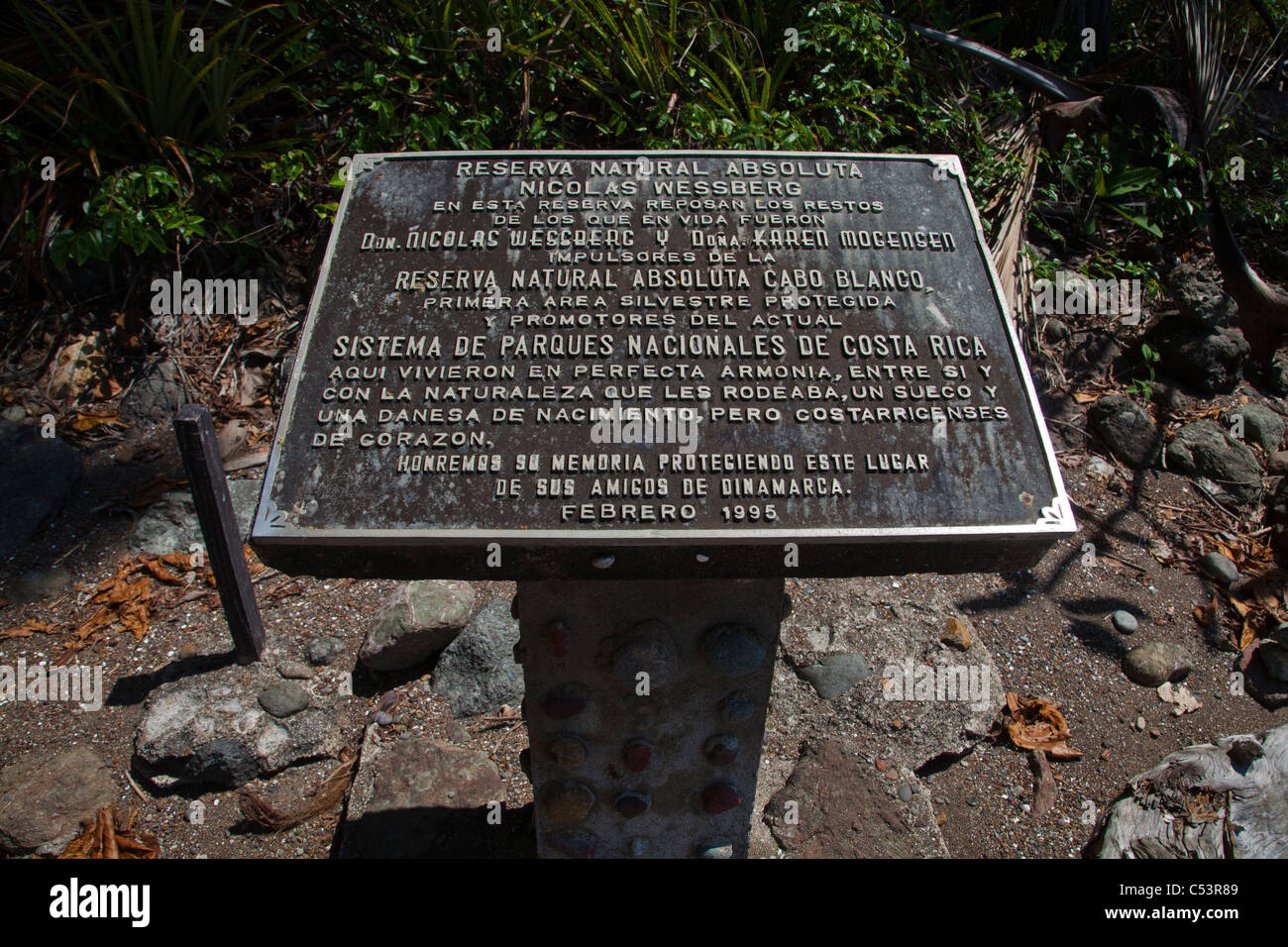 Memorial  for conservationist couple Nicolas Wessberg and Karin Morgensen - Stock Image