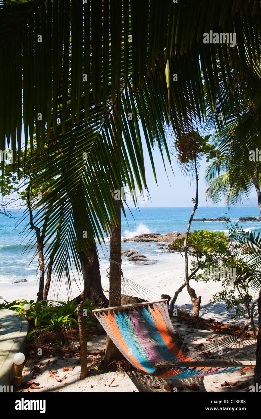 Inviting beach hammock in the shade along tropical beach - Stock Image