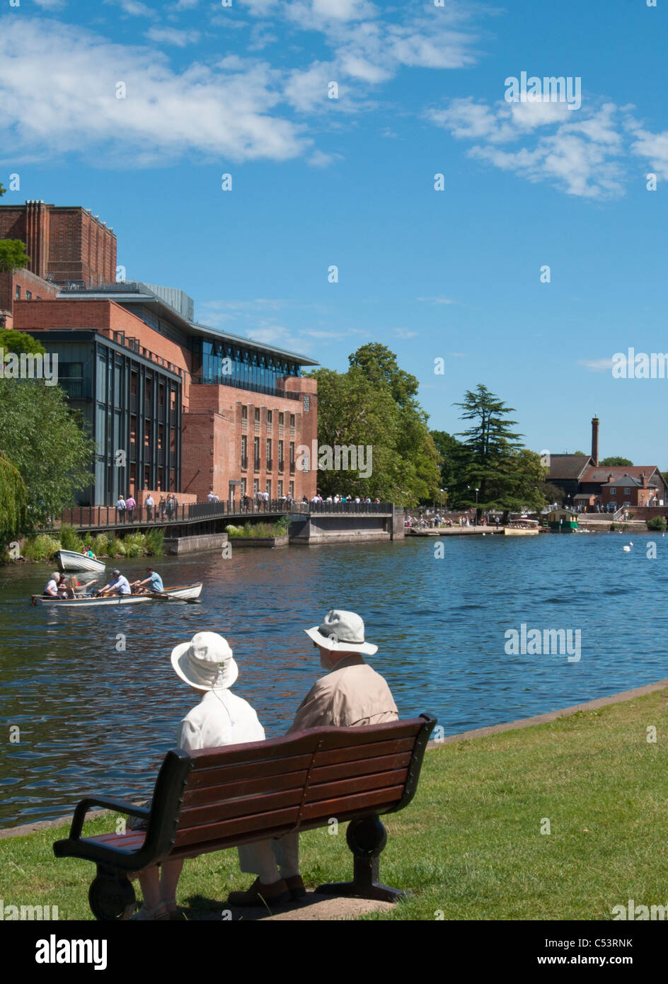 A quaint English scene with the Swan theatre, over the river Avon, Stratford upon Avon, UK. 2011. - Stock Image