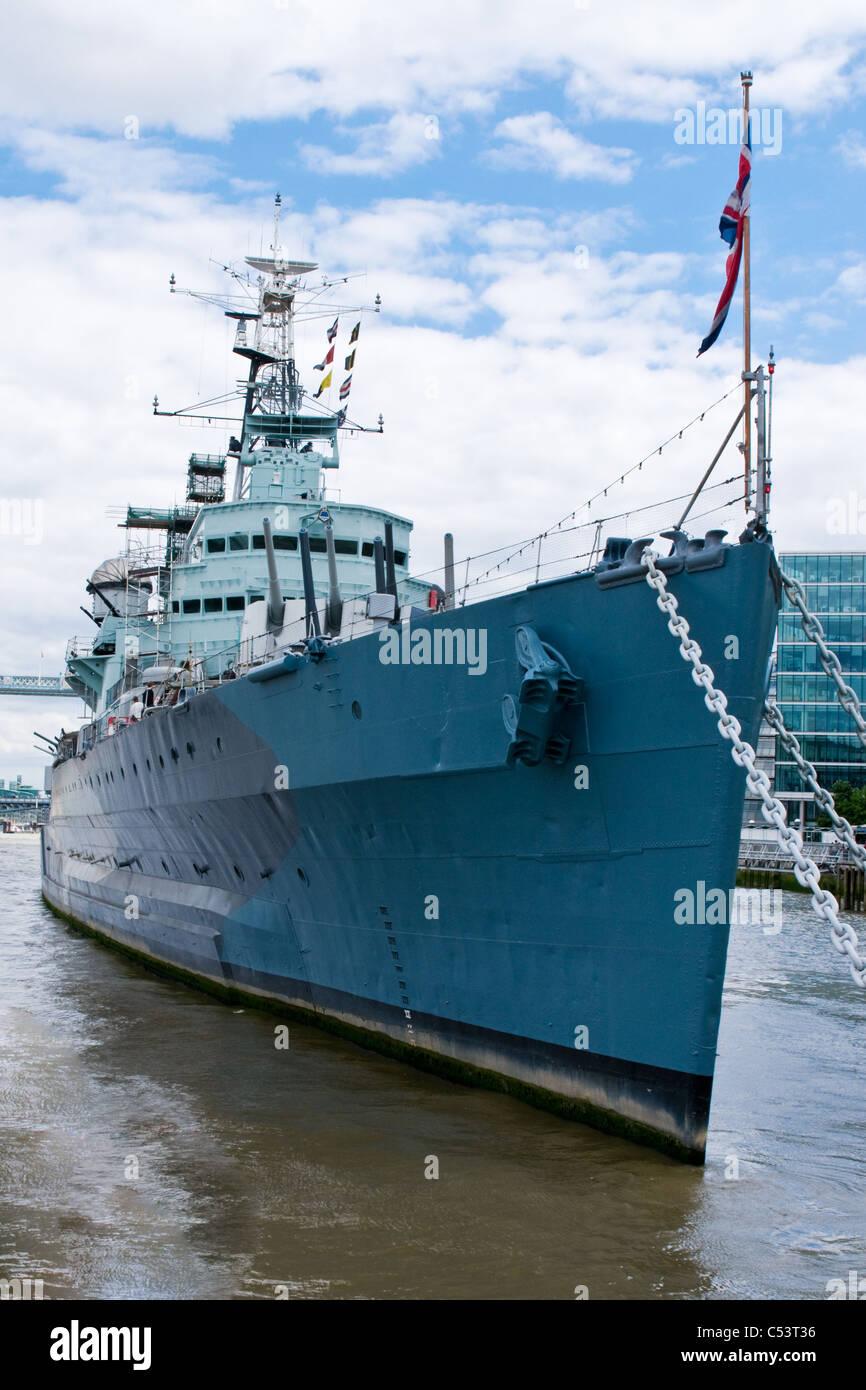 Warship HMS Belfast, River Thames, London, England - Stock Image