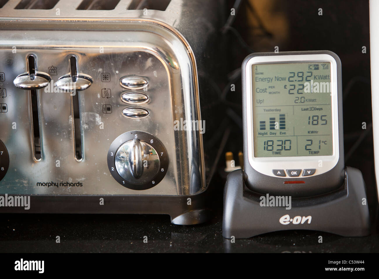 A smart meter for monitoring electricity consumption - Stock Image