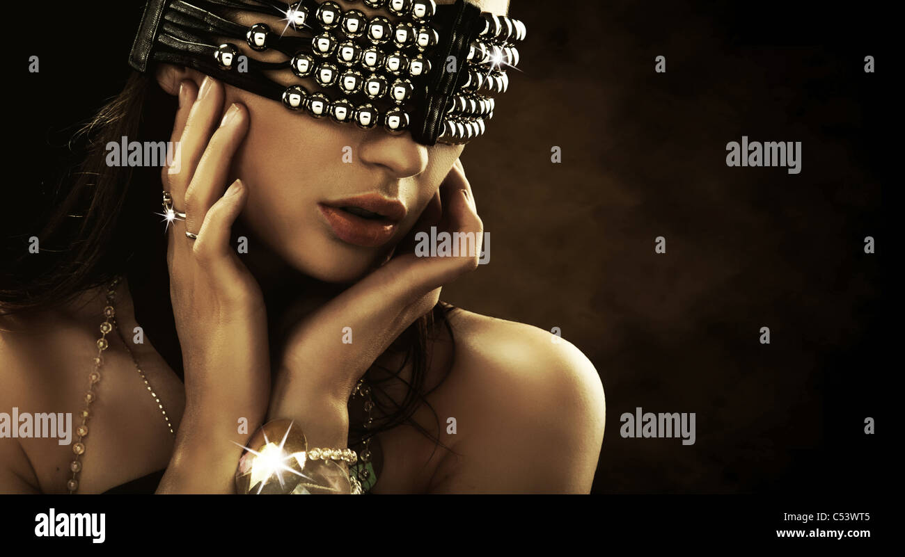 Portrait of a woman with covered eyes - Stock Image