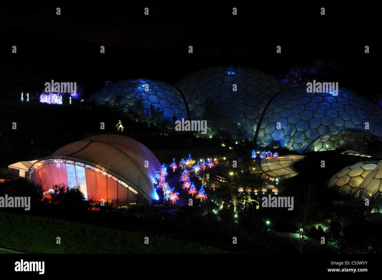 Eden Project At Night During The Winter Season When Biomes And Surroundings Are Floodlit Cornwall UK
