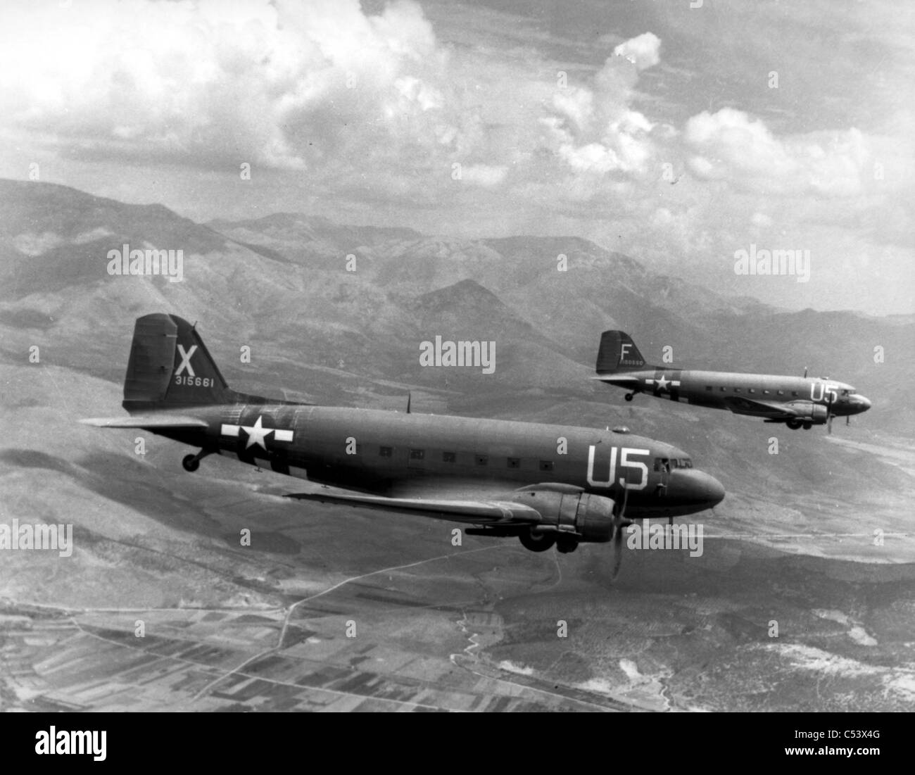 DOUGLAS DC-3s (Dakotas) of the US Army Airforce - Stock Image