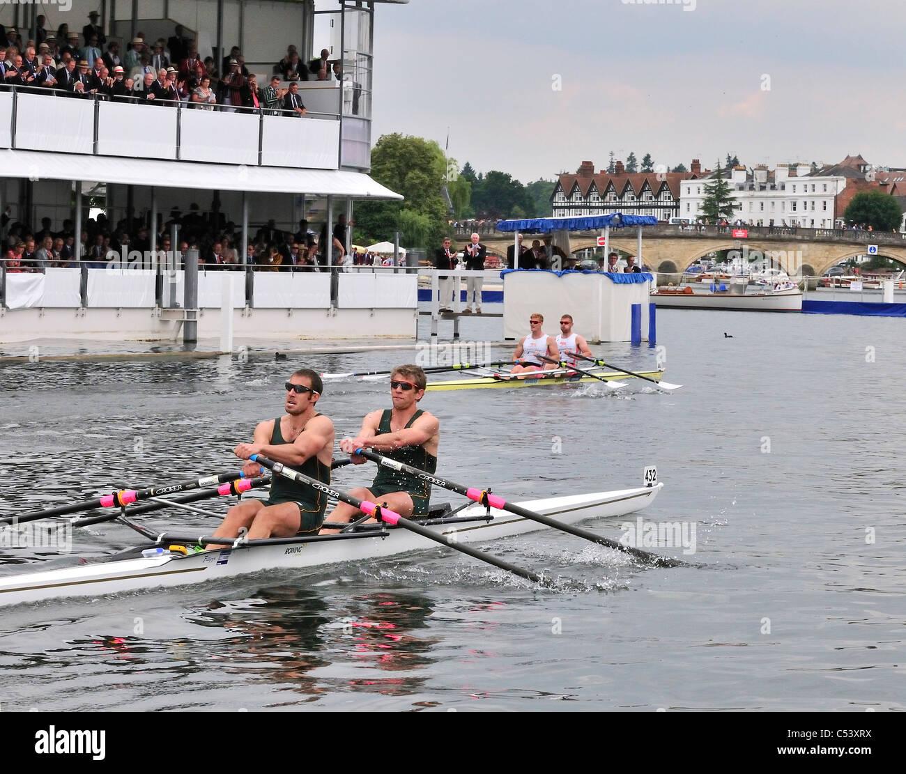 Henley Royal Regatta Finals 2011 M.W.Wells & R.M. Bateman (Leander Club)beat D.W. Crawshay & S.Brennan - Stock Image