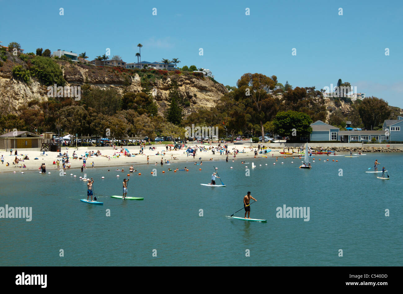 Stand up paddling in Dana Point harbor, California, USA (June 2011) - Stock Image