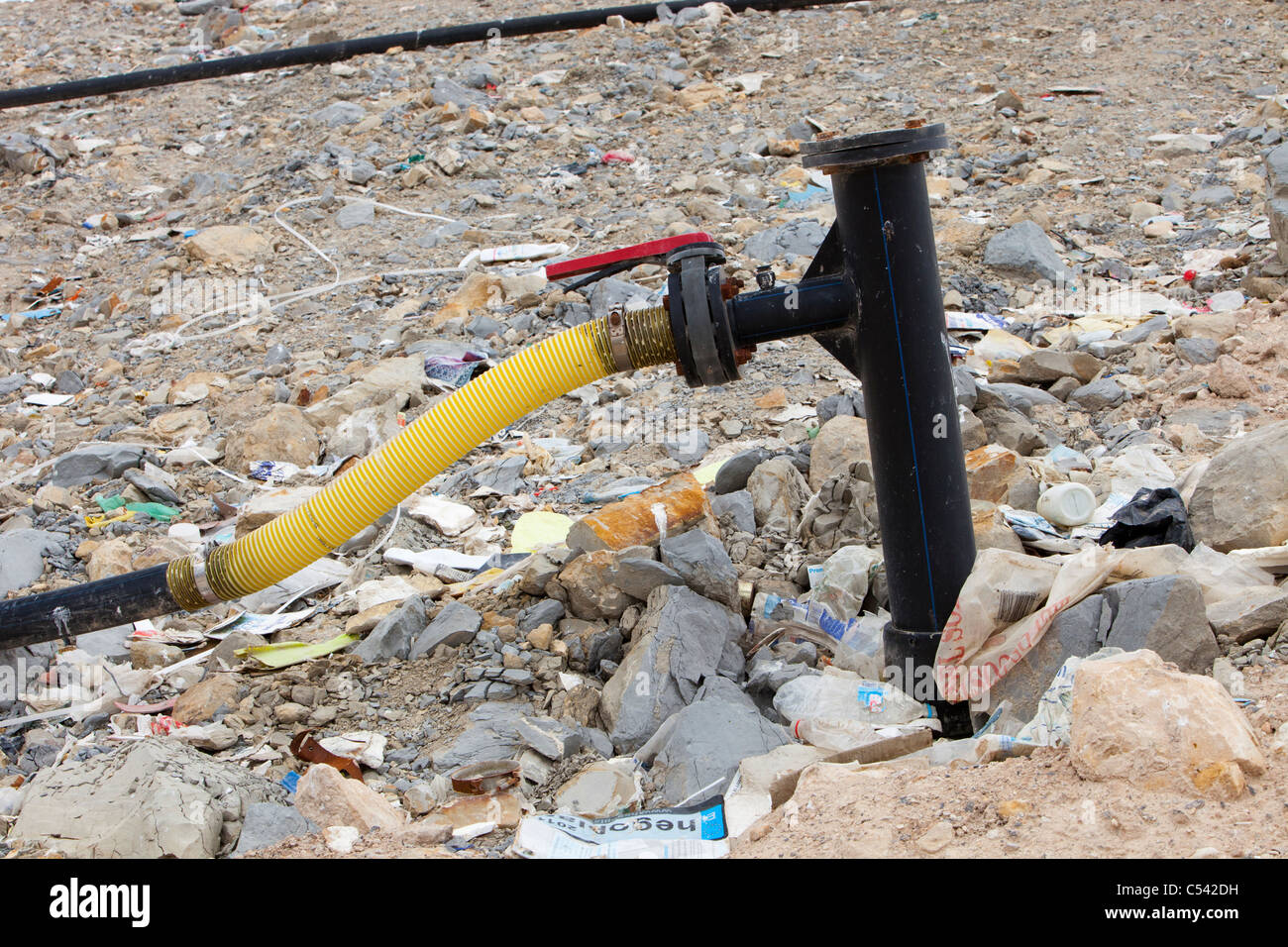 Methane being tapped off from a landfill site in Alicante, Costa Blanca, Murcia, Spain. - Stock Image