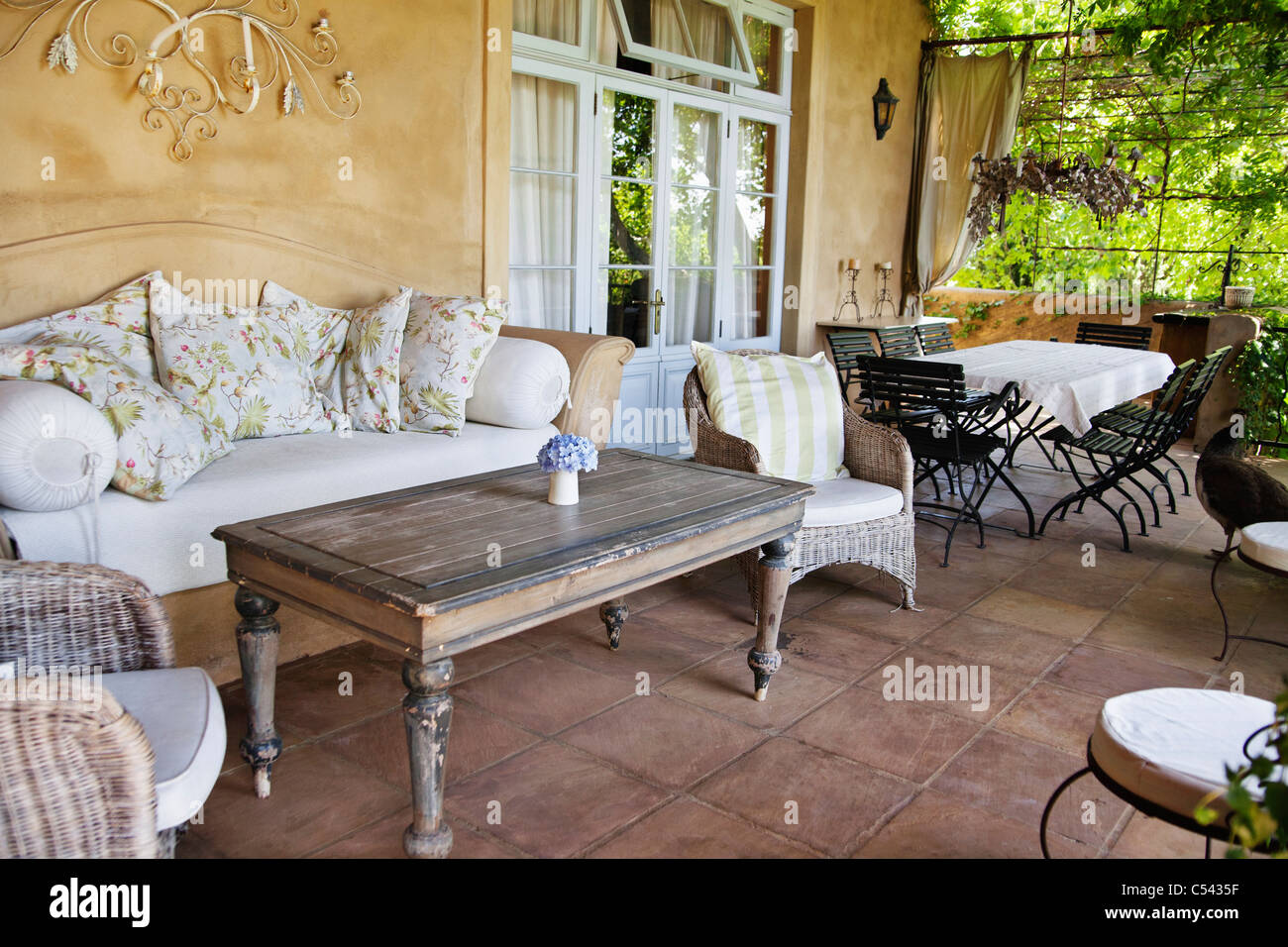 View of balcony with sitting arrangement - Stock Image