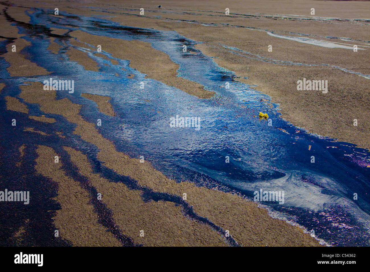 Debris on a river aerial view - Stock Image