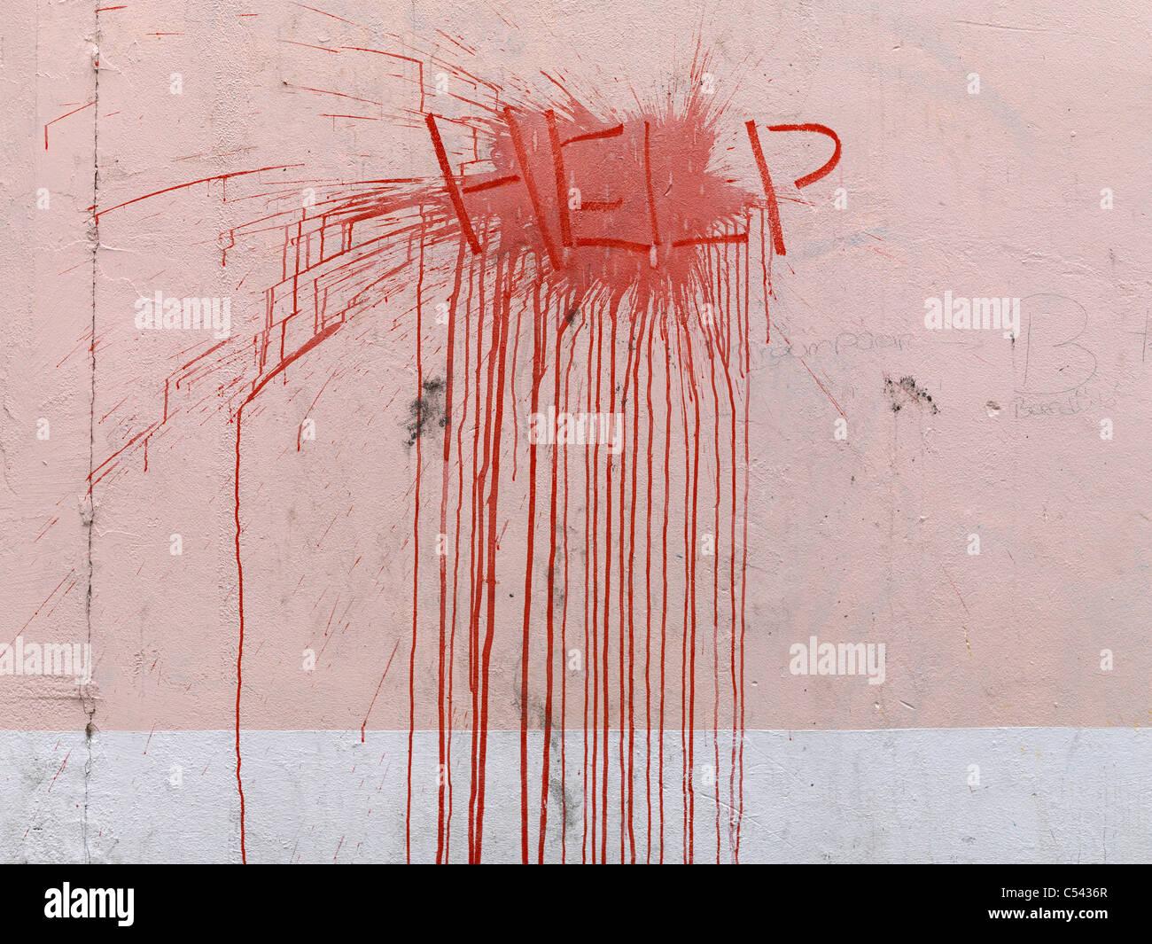 help pink wall splatter graffiti Stock Photo