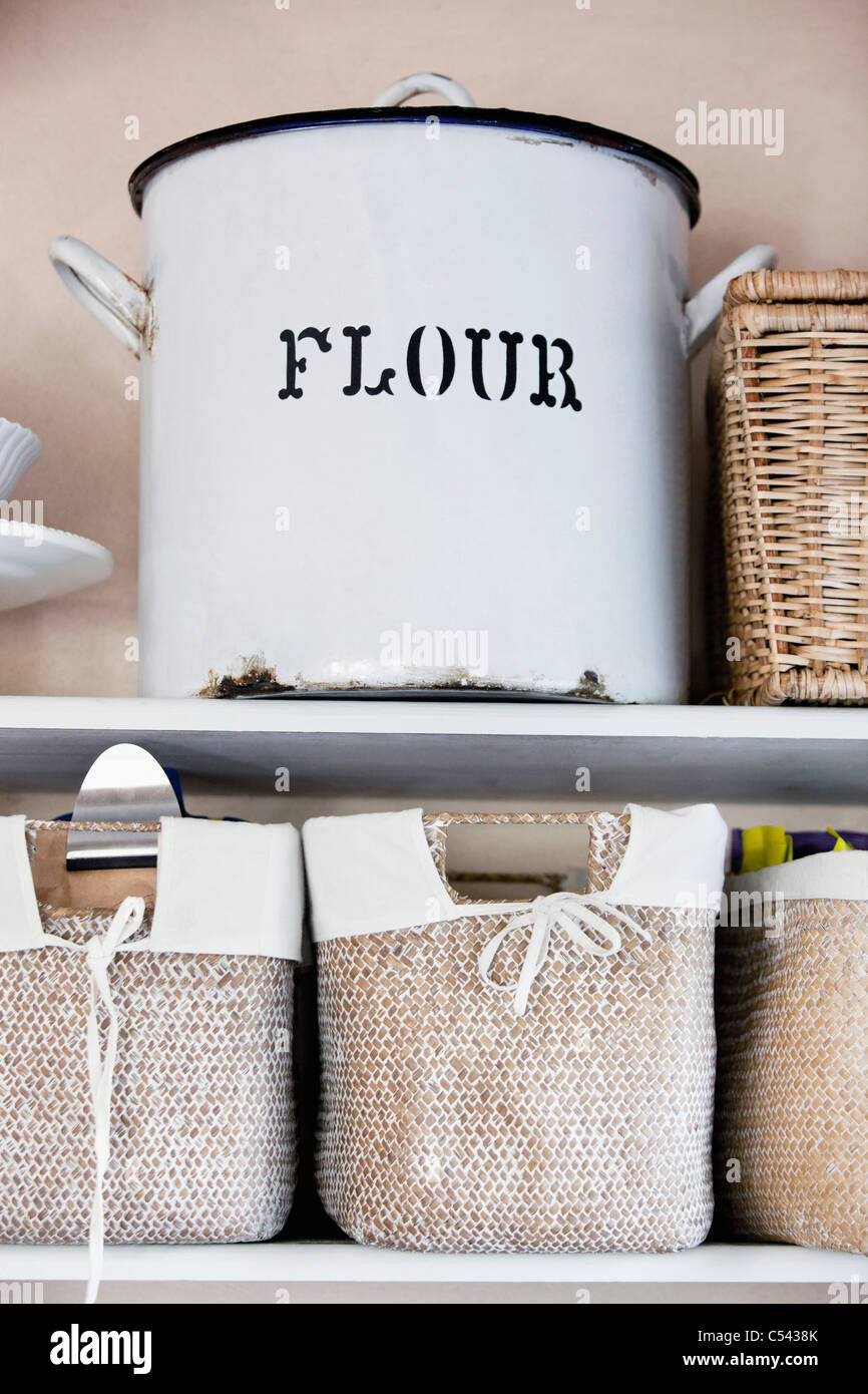 Close-up of a flour container - Stock Image
