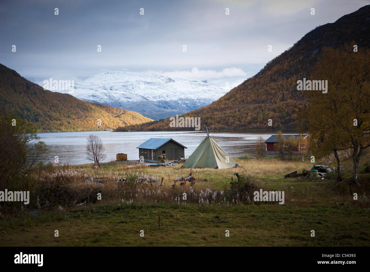 Lakeside camping - Stock Image
