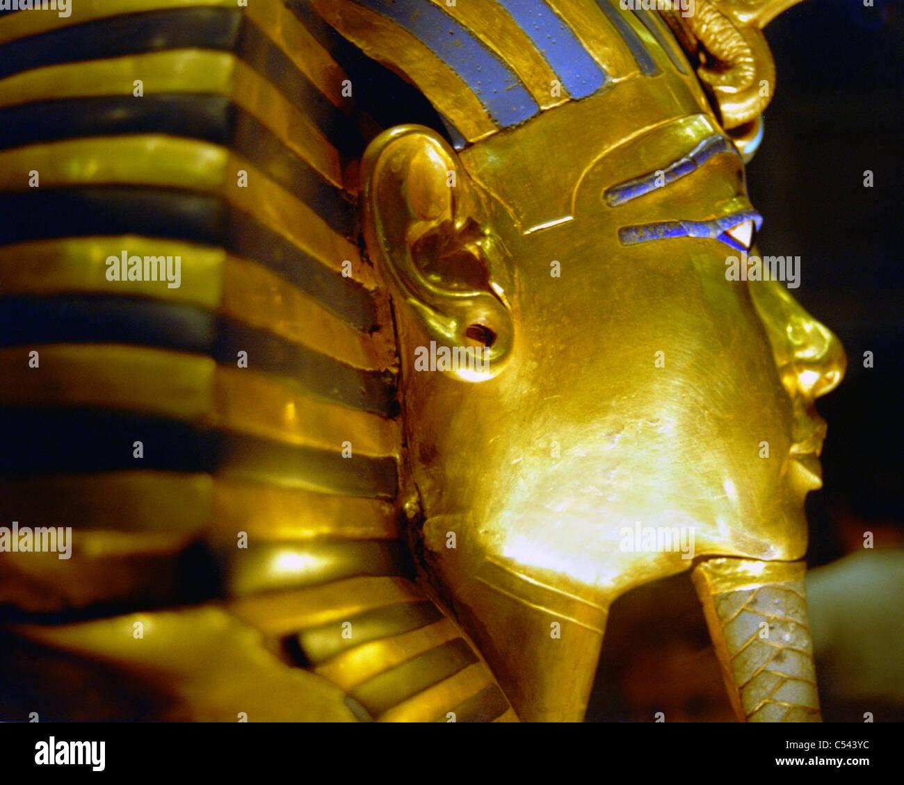 Mask of King Tut (Tutankhamun). Profile close up view. - Stock Image