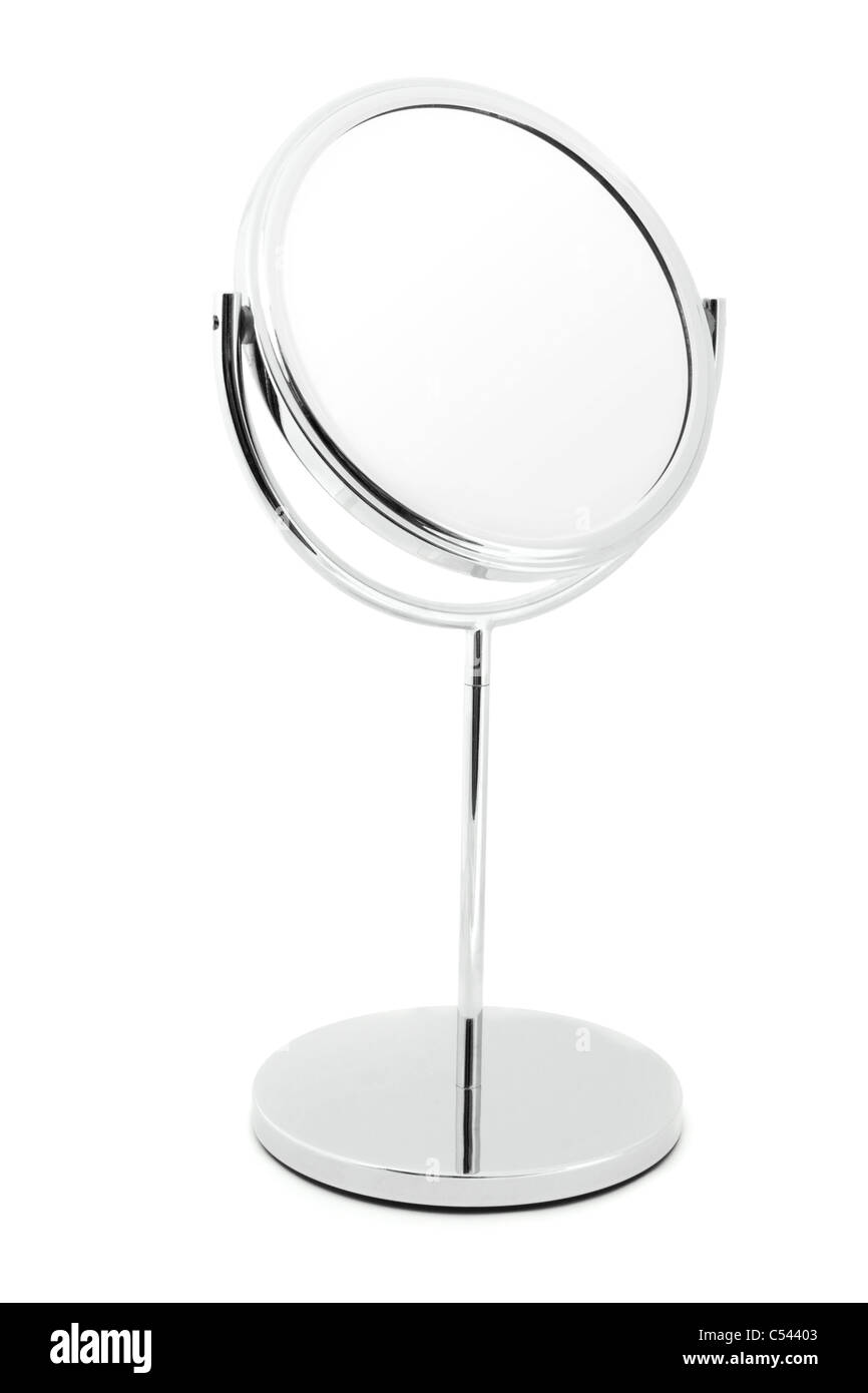 Silver mirror isolated on white - Stock Image