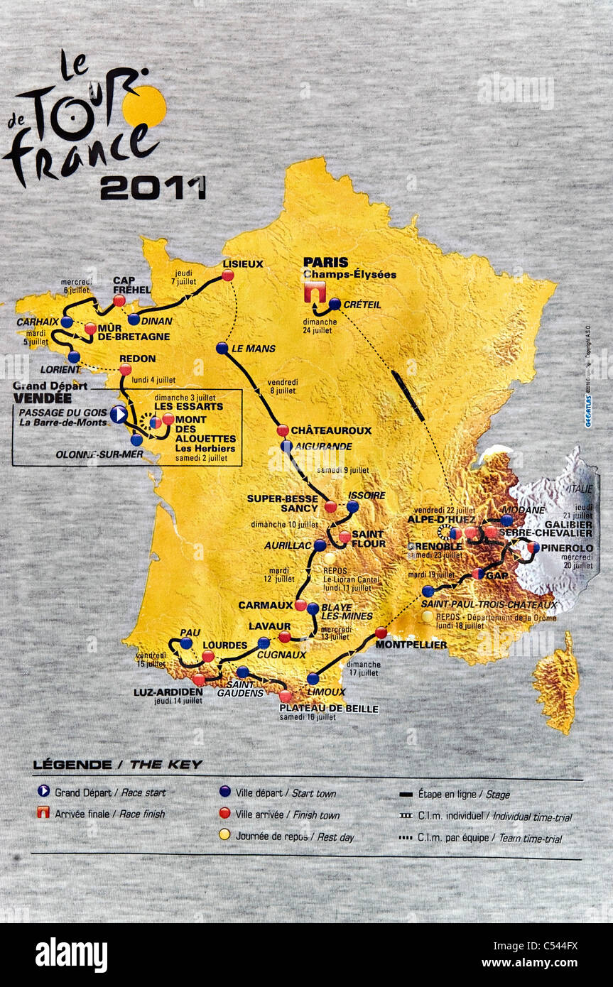 Tour de france route stock photos tour de france route stock a map on the back of a t shirt the route of the 2011 gumiabroncs Image collections