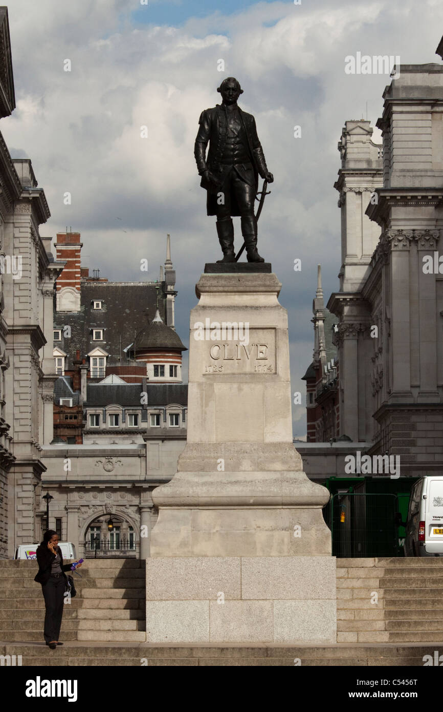 Statue of Robert Clive, better known as Clive of India, London, England, Uk - Stock Image