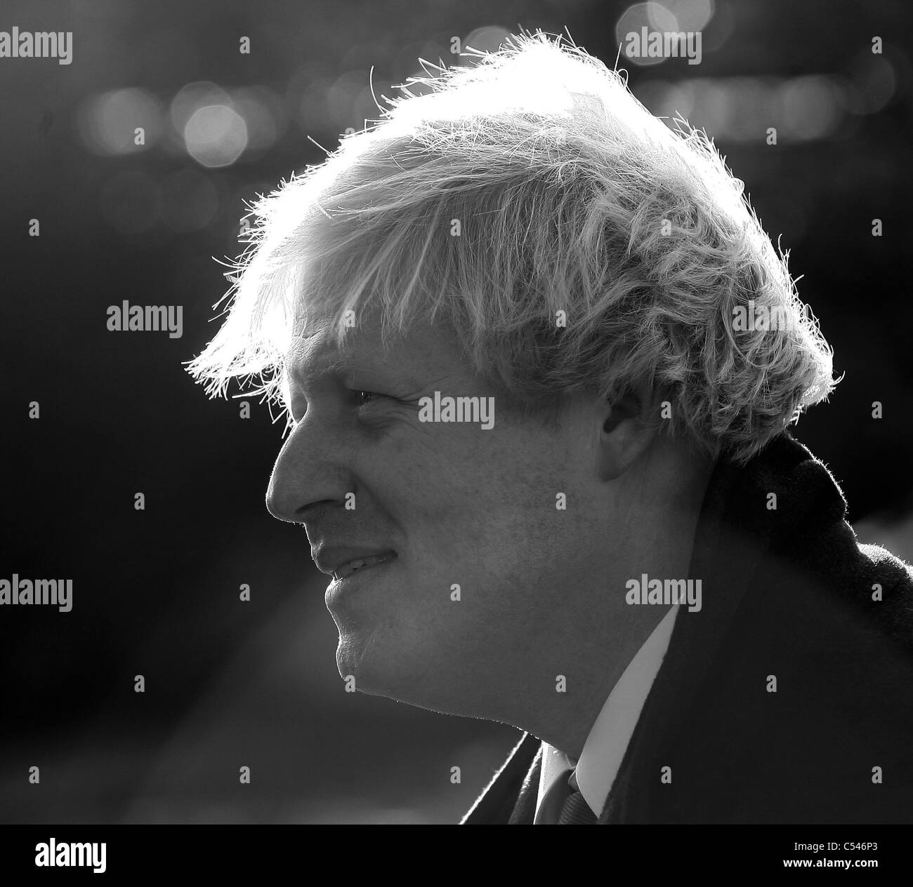 Black and White photograph of London Mayor Boris Johnson. Picture by James Boardman. - Stock Image