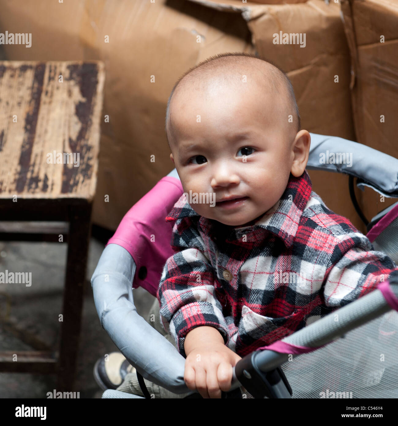 Portrait of a baby boy, Shanghai, China - Stock Image