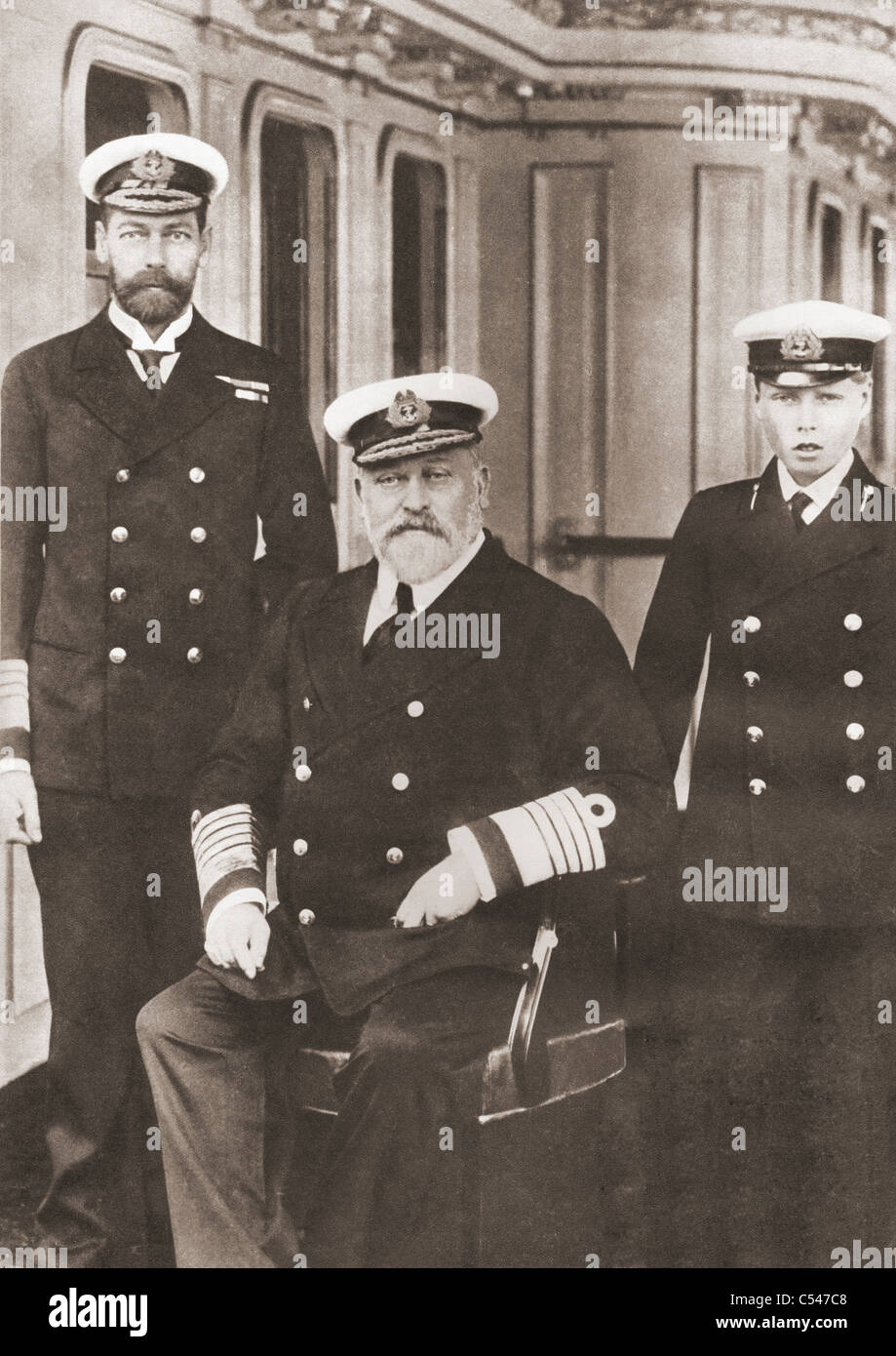 From left, Prince of Wales, later King George V, King Edward VII, seated, and Prince Edward, later Edward VIII. - Stock Image