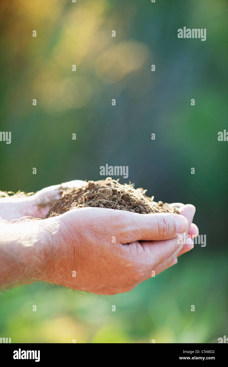 Close-up of a man's hand holding soil - Stock Image