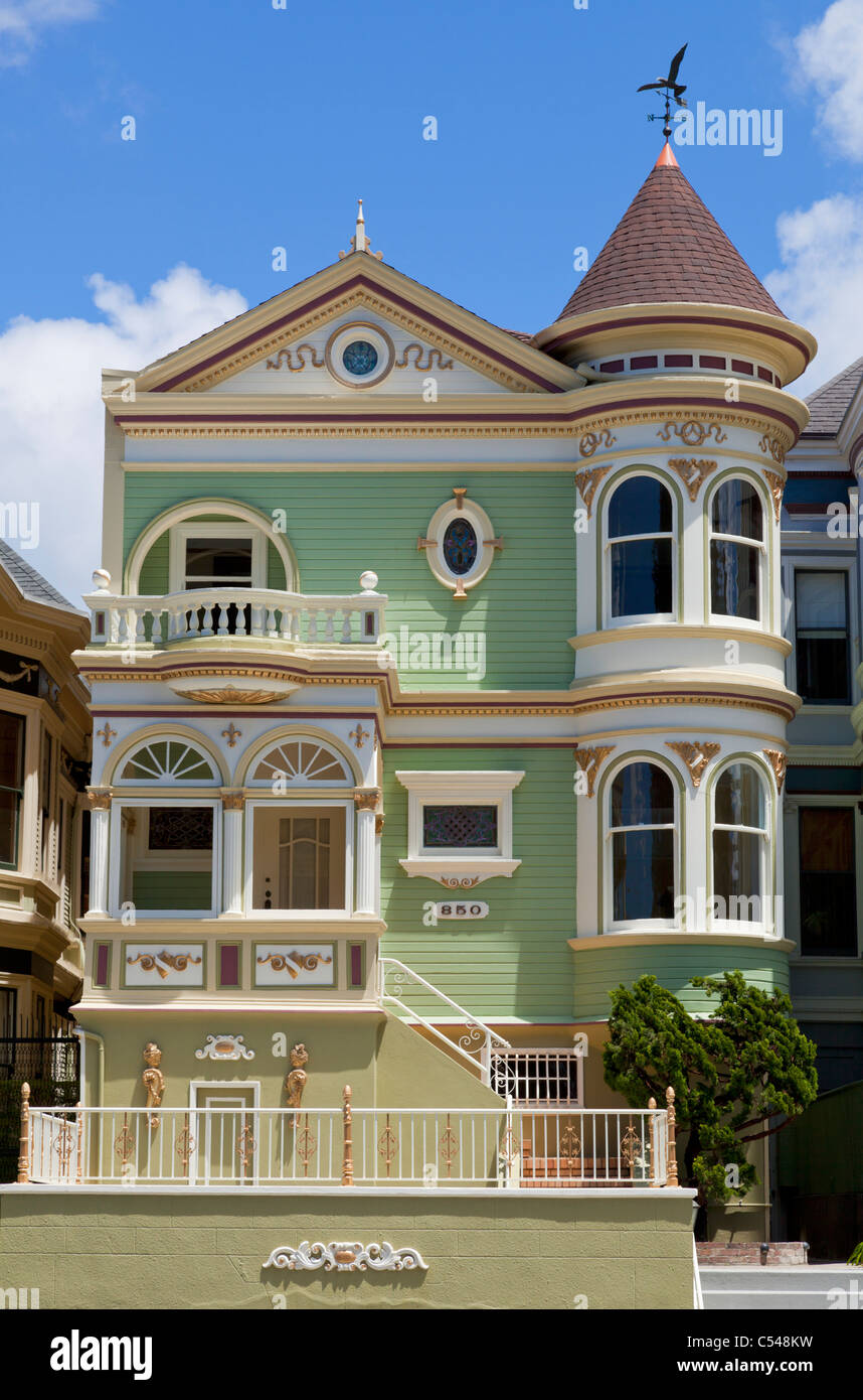 San Francisco famous well maintained old Victorian houses on Alamo Square California USA - Stock Image