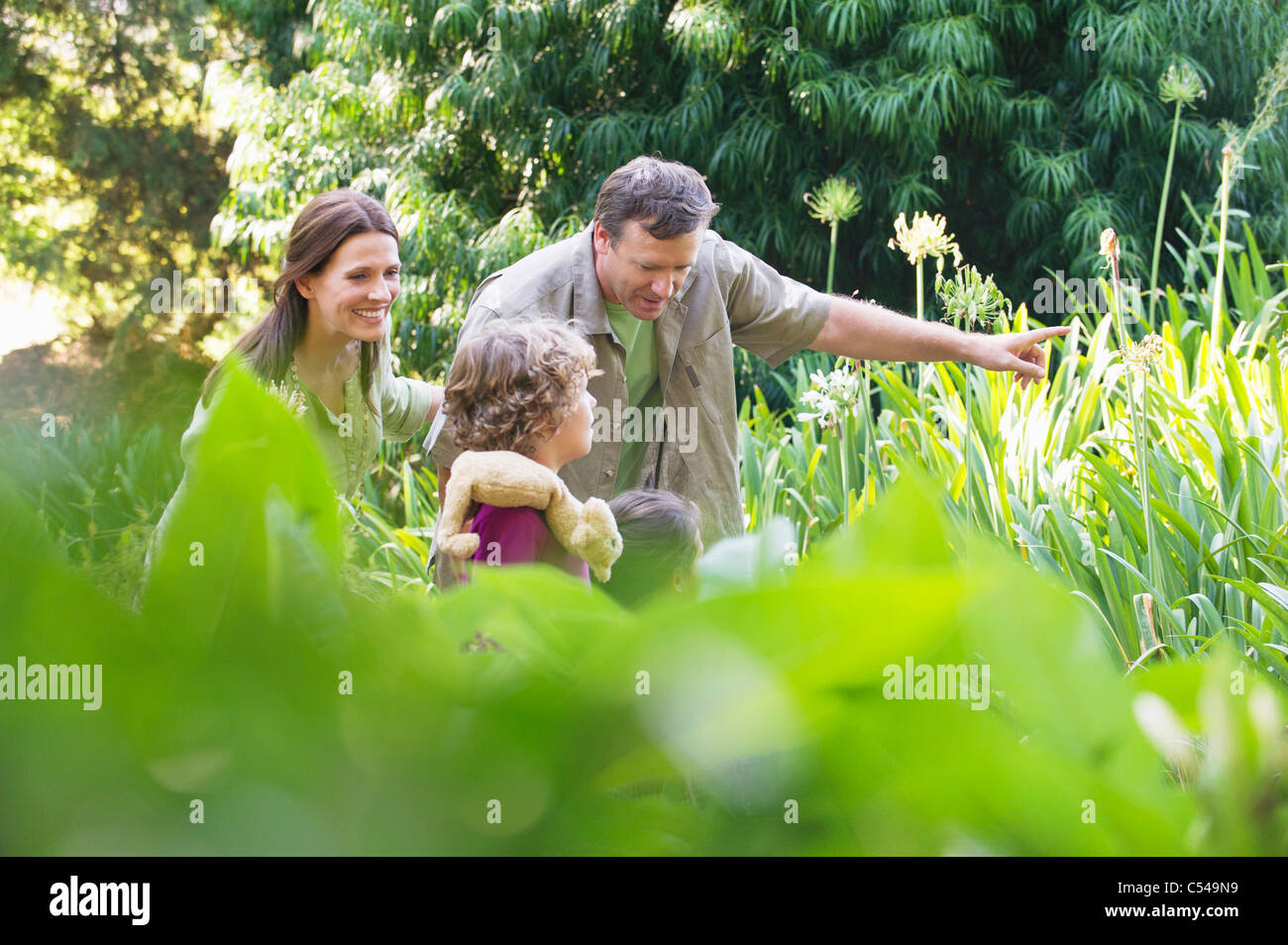 Two little children walking in a garden with their parents - Stock Image