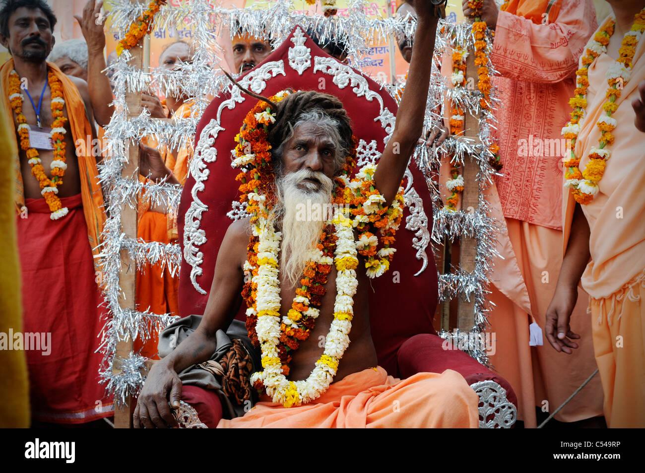 A sadhu (Hindu holy man) at the Kumbh Mela festival in India. Stock Photo