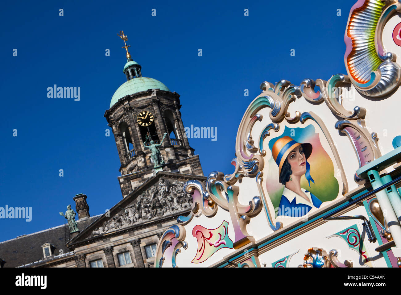 The Netherlands, Amsterdam, Yearly parade of street organs on Dam Square. - Stock Image