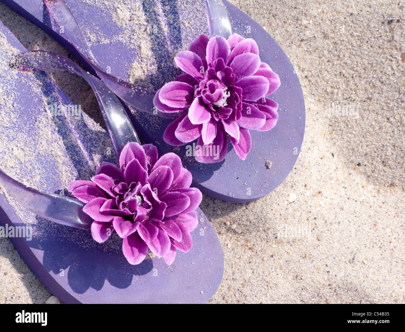 ladies flowered sandals on white sand beach - Stock Image