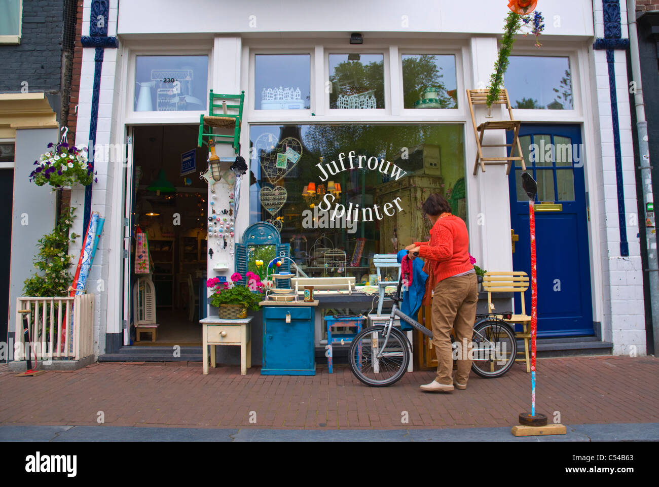 Juffrouw Splinter second hand antiques shop Prinsengracht canal central Amsterdam the Netherlands Europe - Stock Image