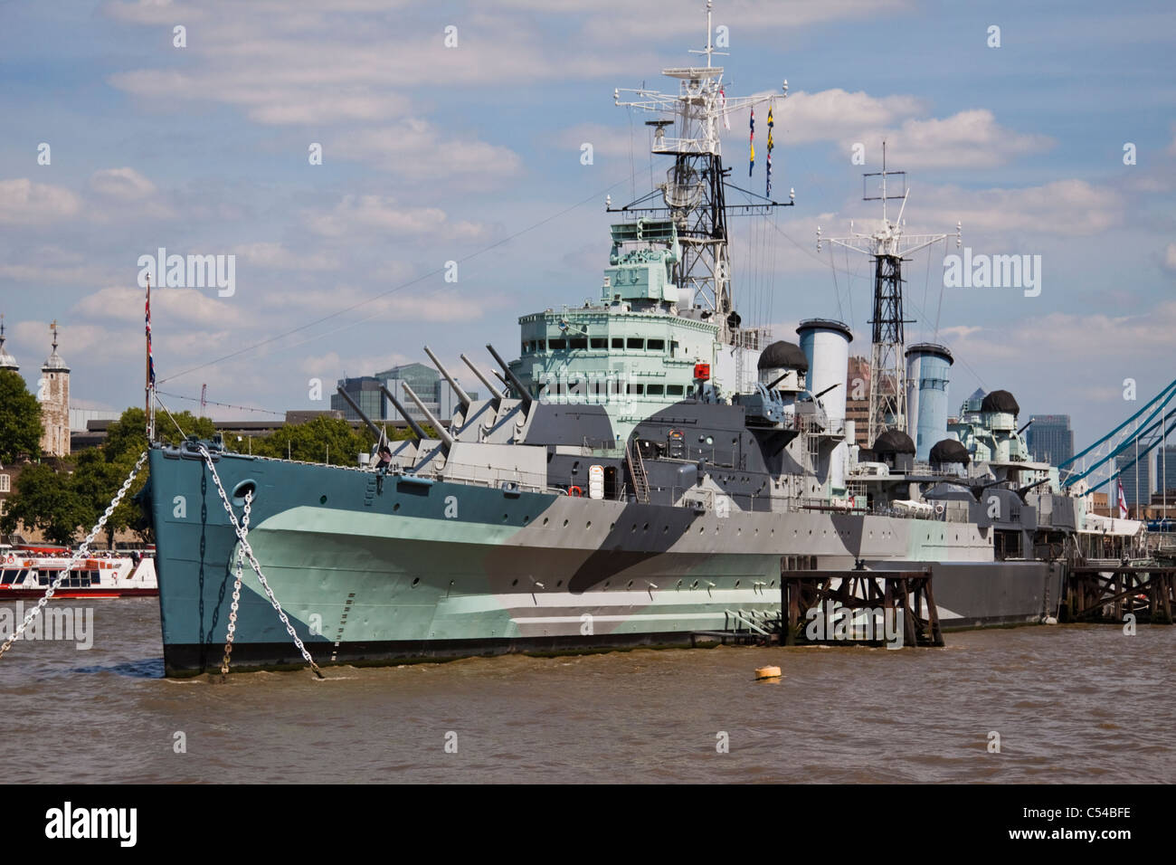 H.M.S.Belfast moored on the river Thames - Stock Image