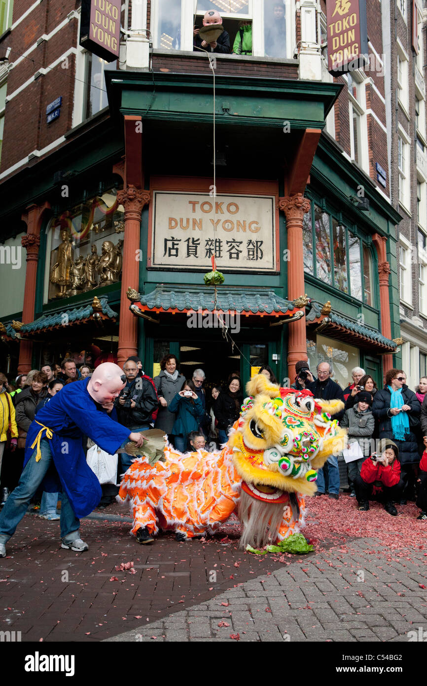 The Netherlands, Amsterdam, Celebrating chinese new year. 2010, the year of the tiger. - Stock Image