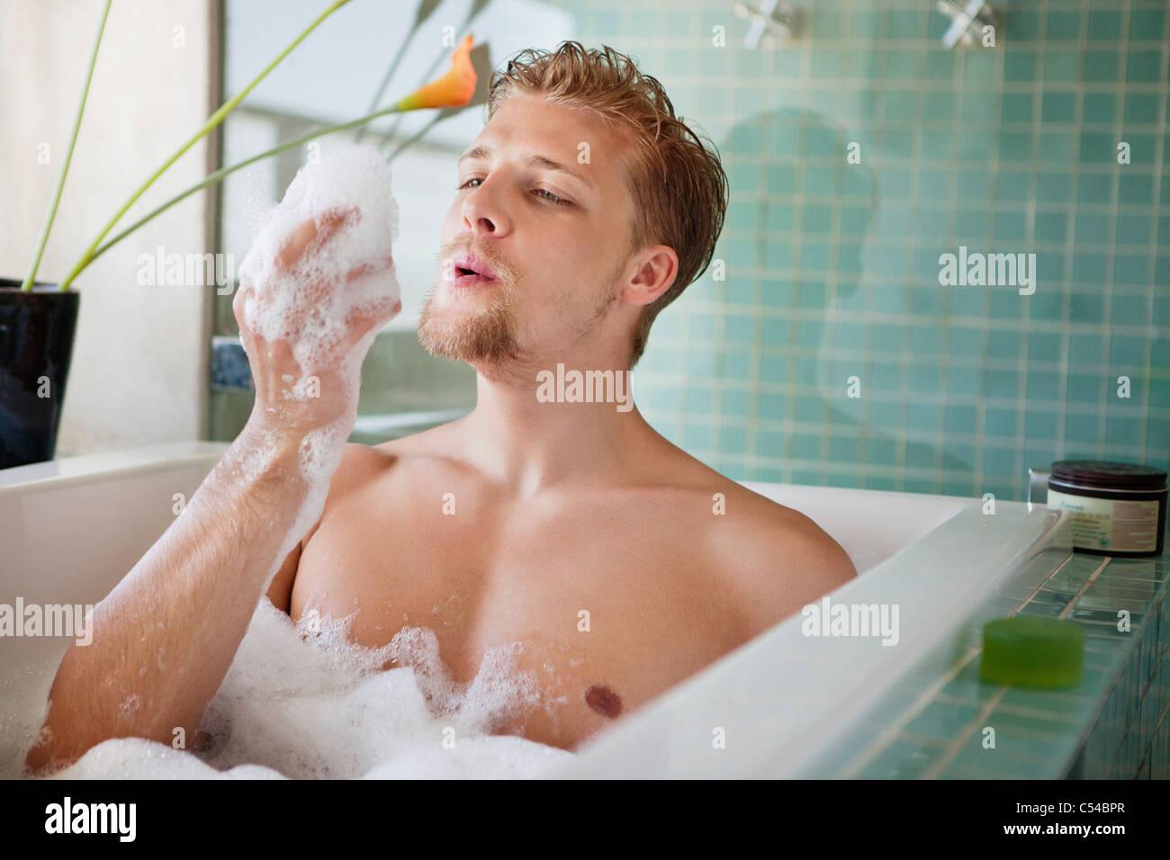 Superbe Man Having Bubble Bath In A Bathtub Stock Photo: 37591087 ...