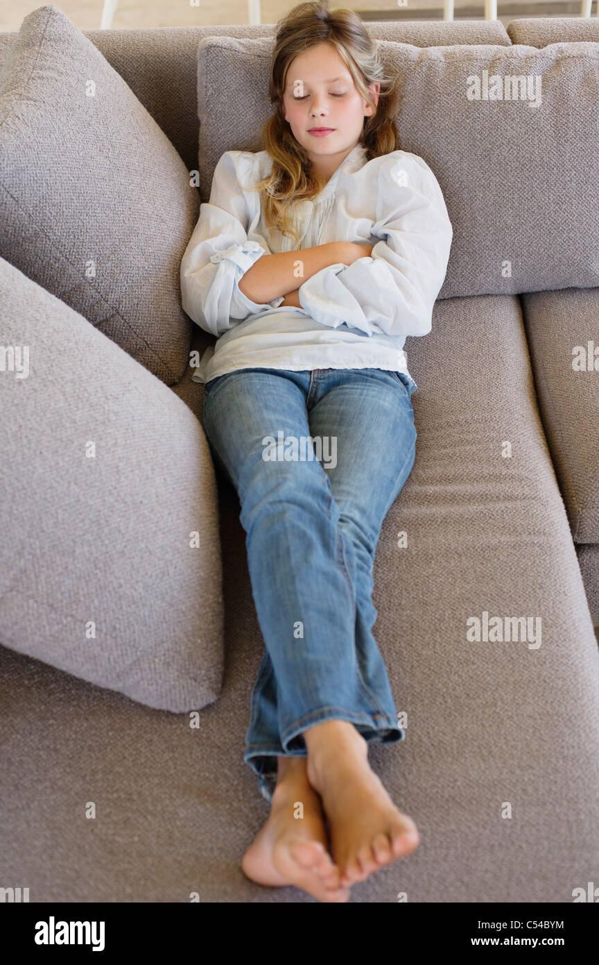 Girl Sleeping On Sofa Soles