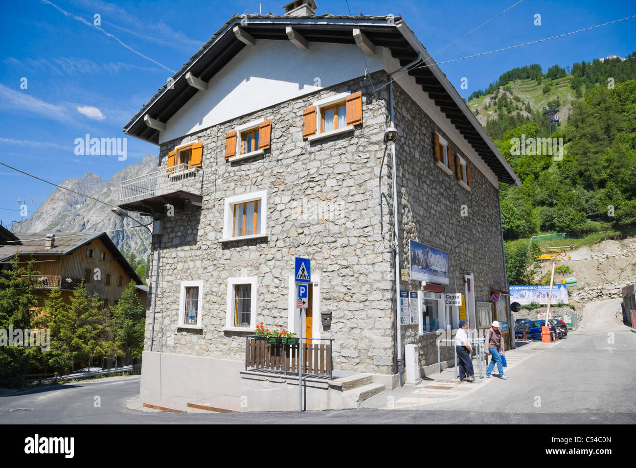 Funivie Monte Bianco, Mont Blanc Funicular, La Palud, Courmayeur Aosta, Aosta Valley, Valle d'Aosta, Italy, - Stock Image