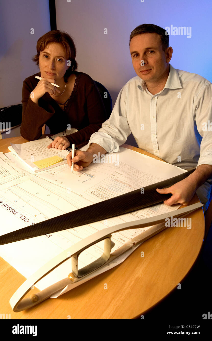 Rob Sauven, Managing director and assistant Amy Dent, Vestas, Windturbine Manufacturers, Newport, Isle of Wight, - Stock Image