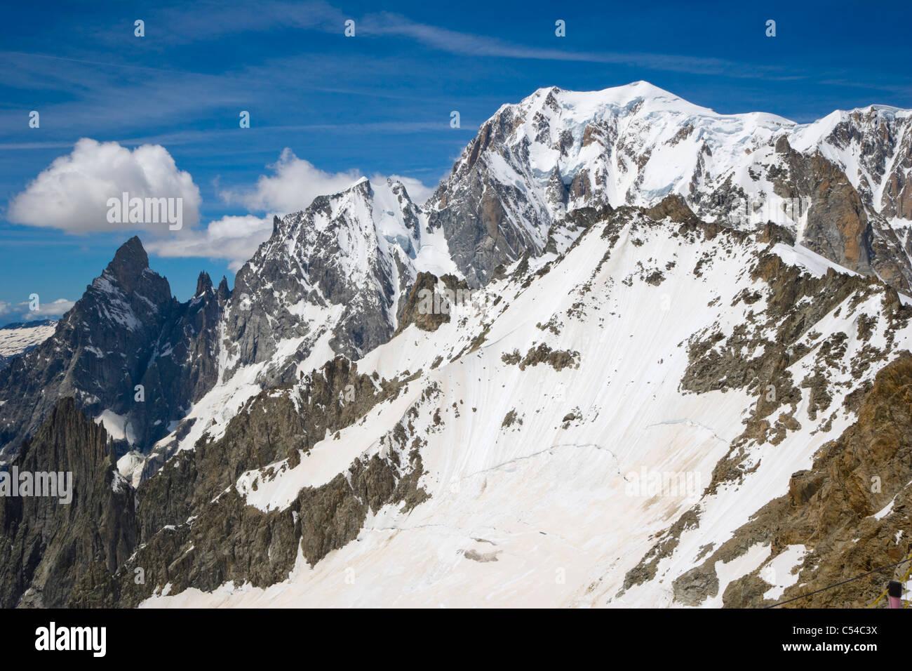 Aiguille Blanche de Peuterey, Mont Blanc, Mont Blanc de Courmayeur summits, Italy, Mont Blanc Massif, Alps Stock Photo